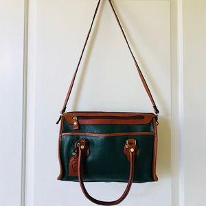 Sold,Vintage Liz Claiborne green brown leather bag
